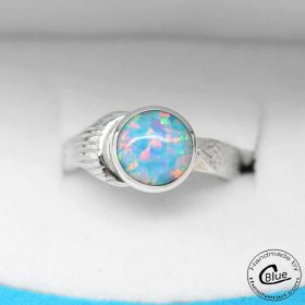 Mako ring with 8mm Blue Fire Opal Cabochon