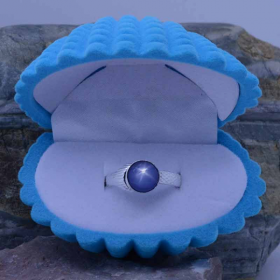 Mako Mermaid ring with 8mm Star Blue Sapphire  (also available in 6mm)