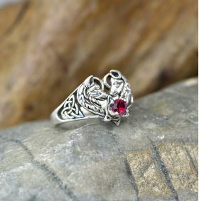 wolf couple heart ring with birthstone